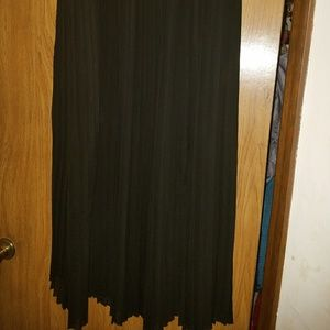 Elegant sheer crystal pleated long skirt
